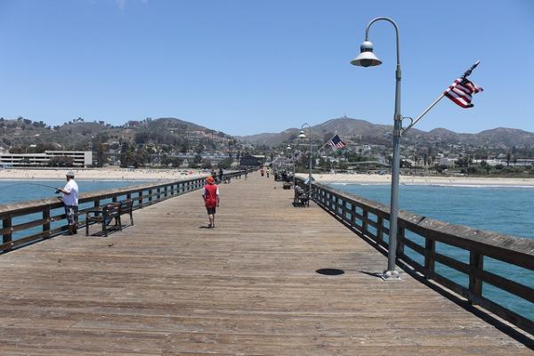 Fishing pier in Ventura, California looking toward land.