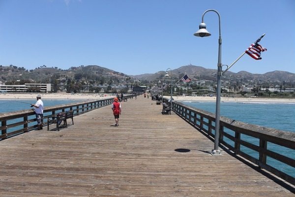 Fishing pier in Ventura, California looking toward land.