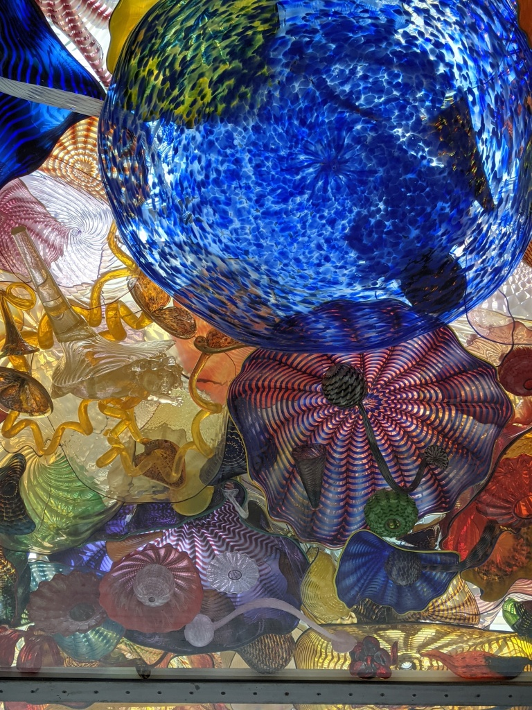 A group  of colorful Chihuly glass pieces from the glass bridge in Tacoma.